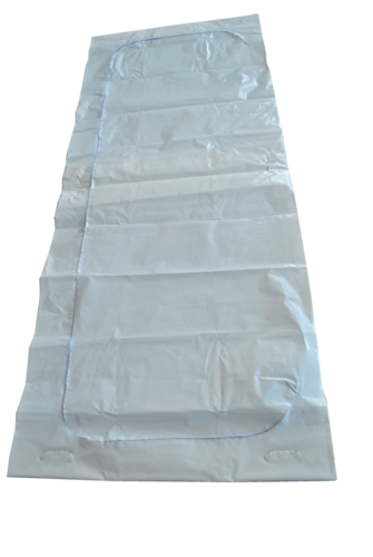 disaster body bag white with c-shaped zipper + 6 wood handles