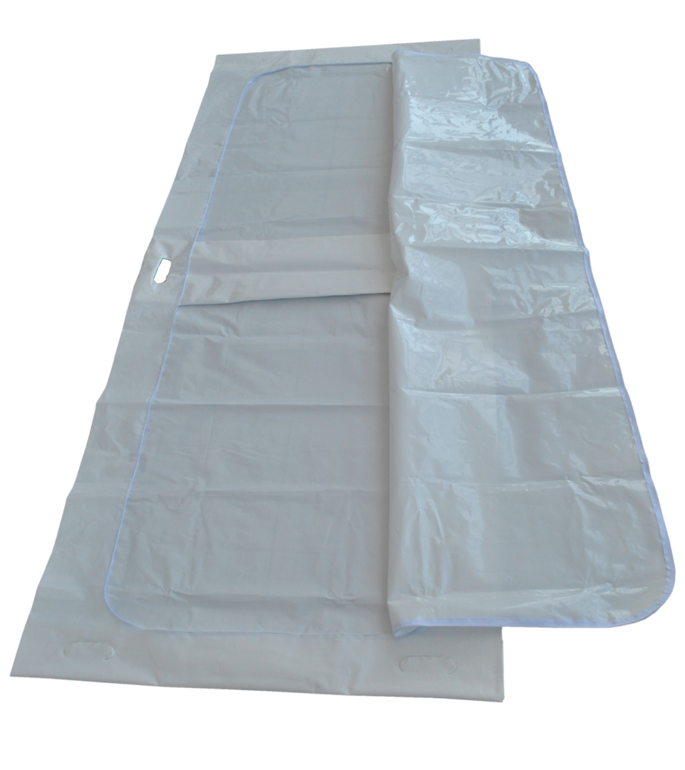 disaster body bag white with c-shaped zipper + 6 handles